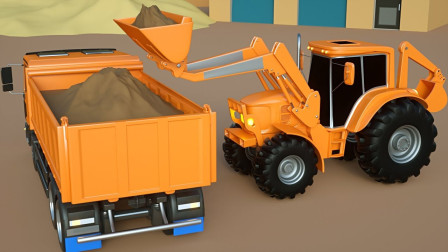 挖掘机铲车水泥罐车修理大桥,儿童工程车玩具
