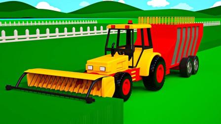儿童拖拉机为奶牛割草,儿童工程车游戏
