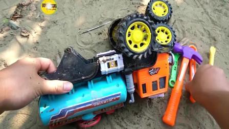 用工具给洒水车装上车轮