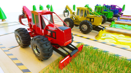 用拖拉机挖掘机帮助儿童学习颜色-儿童卡通