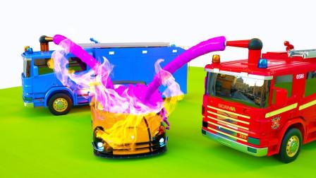儿童学习3种颜色,消防车、集装箱卡车卡通