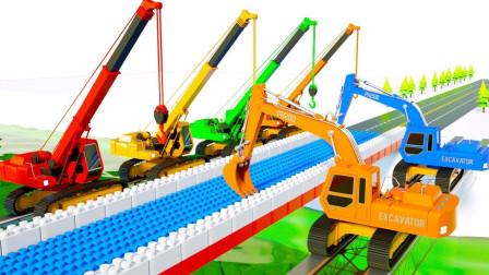 4种颜色供儿童学习挖掘机钢筋混凝土卡车建造桥梁和颜色街道车辆