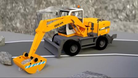 挖掘机和装载机水泥罐车修马路