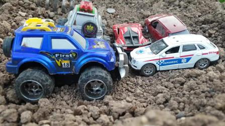 把车藏在土里给孩子们在土里找车