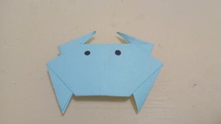 生动又形象的折纸小螃蟹,简单易学,小朋友们都喜欢
