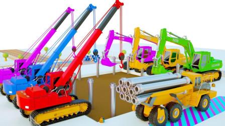使用挖掘机学习颜色施工现场为儿童提供钢筋混凝土卡车