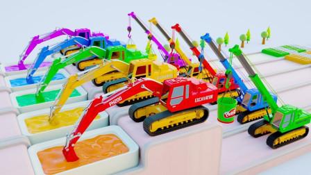 用挖掘机、履带起重机和儿童警车学习儿童的颜色