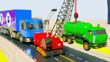 自卸汽车运输糖果发生交通事故,起重机来救援