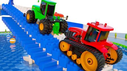 挖掘机卡车和农用车起重机在水上乐园玩耍 儿童卡通动画