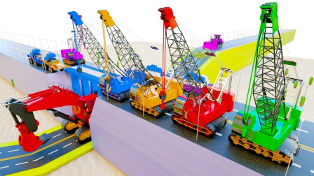 怪物挖掘机和履带起重机建造乐高天桥-儿童卡通动画