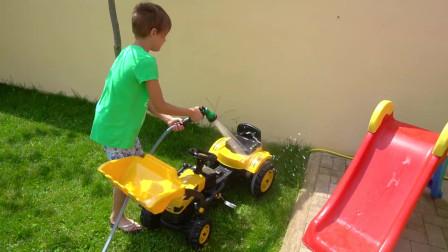 洗车歌童谣与孩子和玩具贾森和兄弟