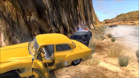 车祸模拟:死亡谷警察追捕撞车事故
