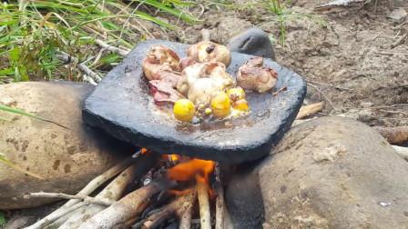 在岩石上煮鸡蛋来吃你见过吗?东南亚野外美食制作