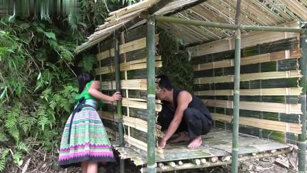 夫妻俩野外建筑,纯手工打造竹屋一幢,累了就进去歇息!