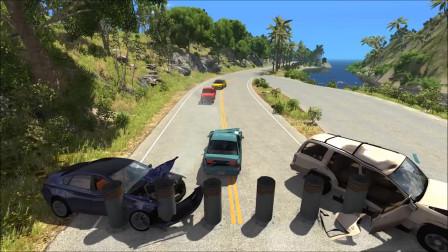 车祸模拟:系柱撞击车祸事故模拟现场