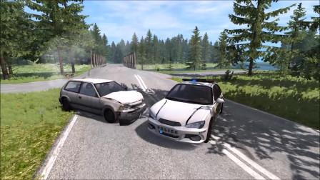 车祸模拟:警察路障跳跃,追求和撞车事故