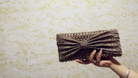 夏日棉草手拿包蝴蝶结的花样钩法,长针条纹针形成的自然褶皱