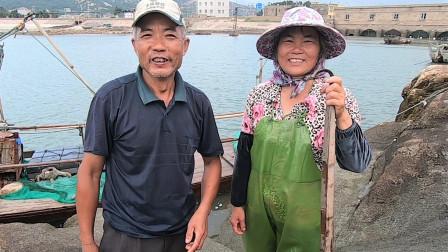 泰叔和泰嫂合力赶海,鳗鱼随便一钓就能卖400元,两人笑开了花