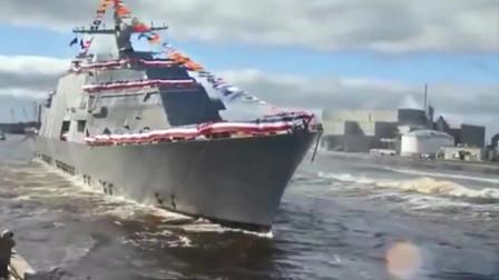 原来新造军舰是这样下水的,真为它捏一把汗