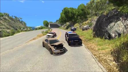 车祸模拟:警方追捕逃逸车辆碰撞事故