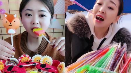 美女直播吃各种造型棒棒糖,看着超过瘾,是我向往的生活
