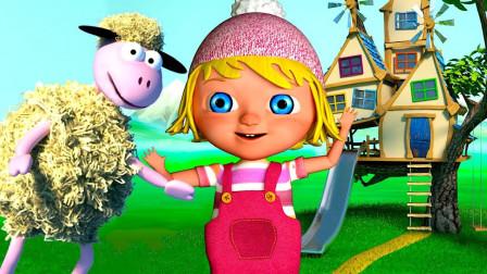 英语启蒙慢速儿歌 玛丽和小羊羔在花丛中为小朋友唱歌