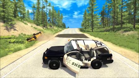 车祸模拟:追逐和碰撞,警察路障跳跃事故车祸