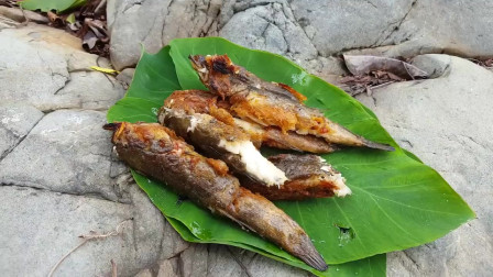 东南亚大哥在野外岩石上烹饪虾虎鱼,野外自己做调料