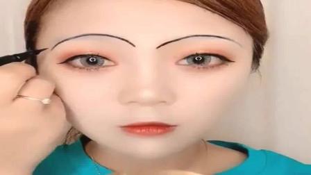 大脸姑娘进来看,教你这样画眉,特别瘦脸还很自然!