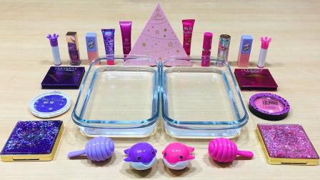 用紫色和蓝色彩妆做无硼砂泥,超解压!混合后会是什么样的颜色