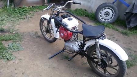 摩托车改装上柴油发动机,改装后的性能厉害了!