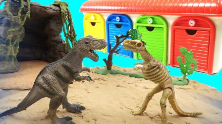 恐龙模型和恐龙化石互相变换