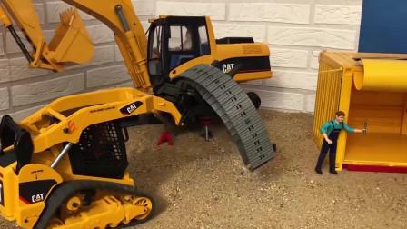 跟着工程车学习颜色,挖掘机和大货车救援另外一台挖掘机