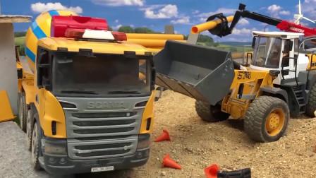 用工程车一起学习颜色,救护车和挖掘机救援水泥罐车