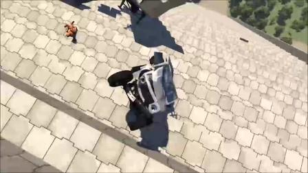 车祸模拟:汽车快速跳跃碰撞假人测试事故