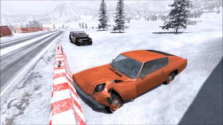 车祸模拟:雪地快速行驶警车追捕导致事故车祸