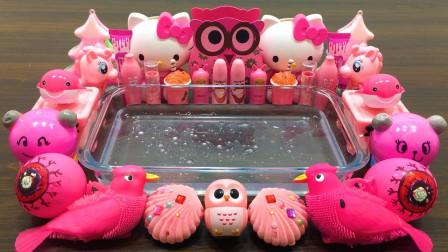 KT猫也能做无硼砂泥?混入32种粉色材料,最后的效果美哒哒