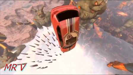 Beamng车祸模拟:汽车跳入火山