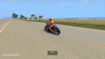 BeamNG汽车模拟:摩托车碰撞事故模拟