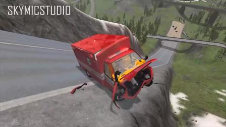 车祸模拟:大货车开足马力跳跃高空
