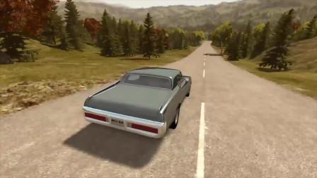 BeamNG drive:跑车高速跳跃后翻滚掉进海里