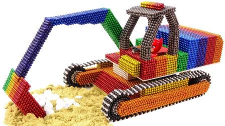 牛人用磁力球建造一台挖掘机,相似度你给打多少分?