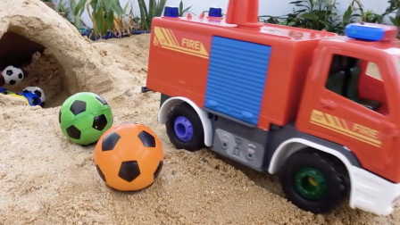 组装救援消防车玩具游戏,拼装认知汽车零部件
