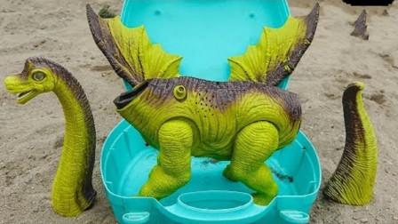 恐龙蛋放进工具箱变恐龙组件组装会飞的恐龙