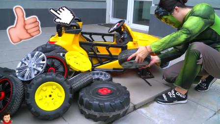 一辆黄色的庞克车的动力轮不见了