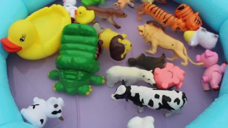 农场动物玩具妈妈学习动物的名字和声音