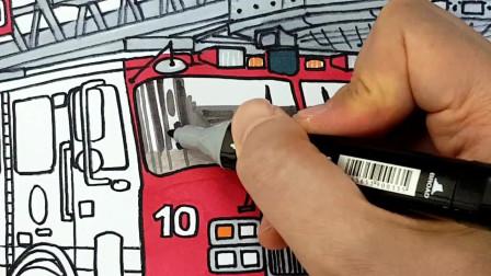 如何绘制和着色消防车绘图和着色儿童儿童网页