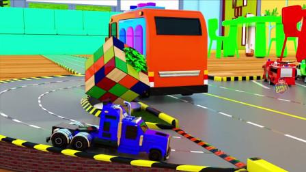 孩子们学习的颜色与泰约巴士运输街道车辆停车玩具三维儿童房车