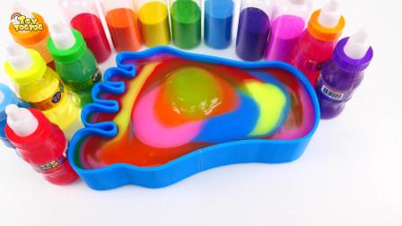 混合我所有的黏液冰沙学习颜色彩虹黏液脚儿童