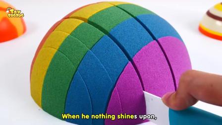 鲨鱼之歌学习颜色彩虹动力沙双层床儿童童谣
